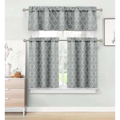 Longoria Grey Homemaison Jacquard Kitchen Curtain Set - 56 in. W x 15 in. L in (3-Piece)