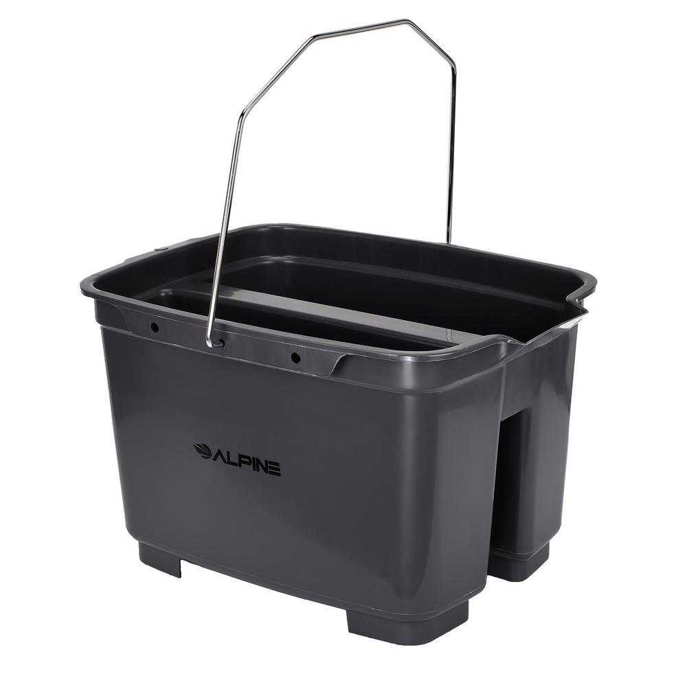 Alpine Industries 19.5 qt. Gray Divided Organizer Plastic Bucket Caddy