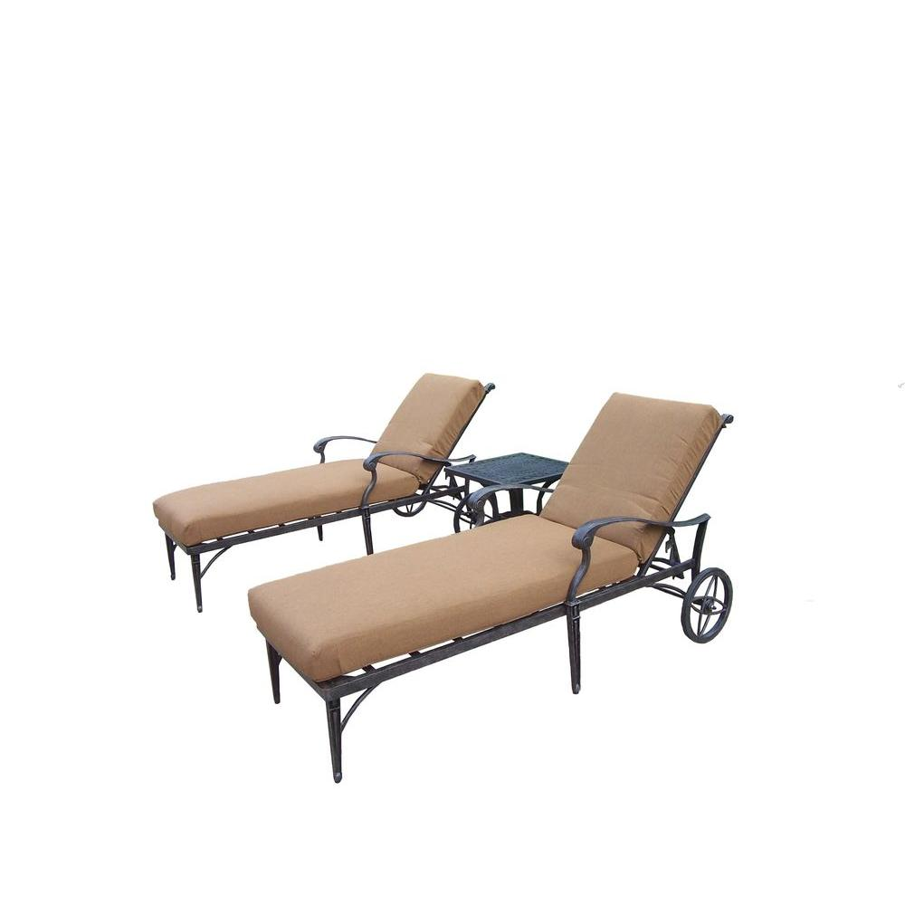 Cast Aluminum 3-Piece Patio Chaise Lounge Set with Sunbrella Cushions