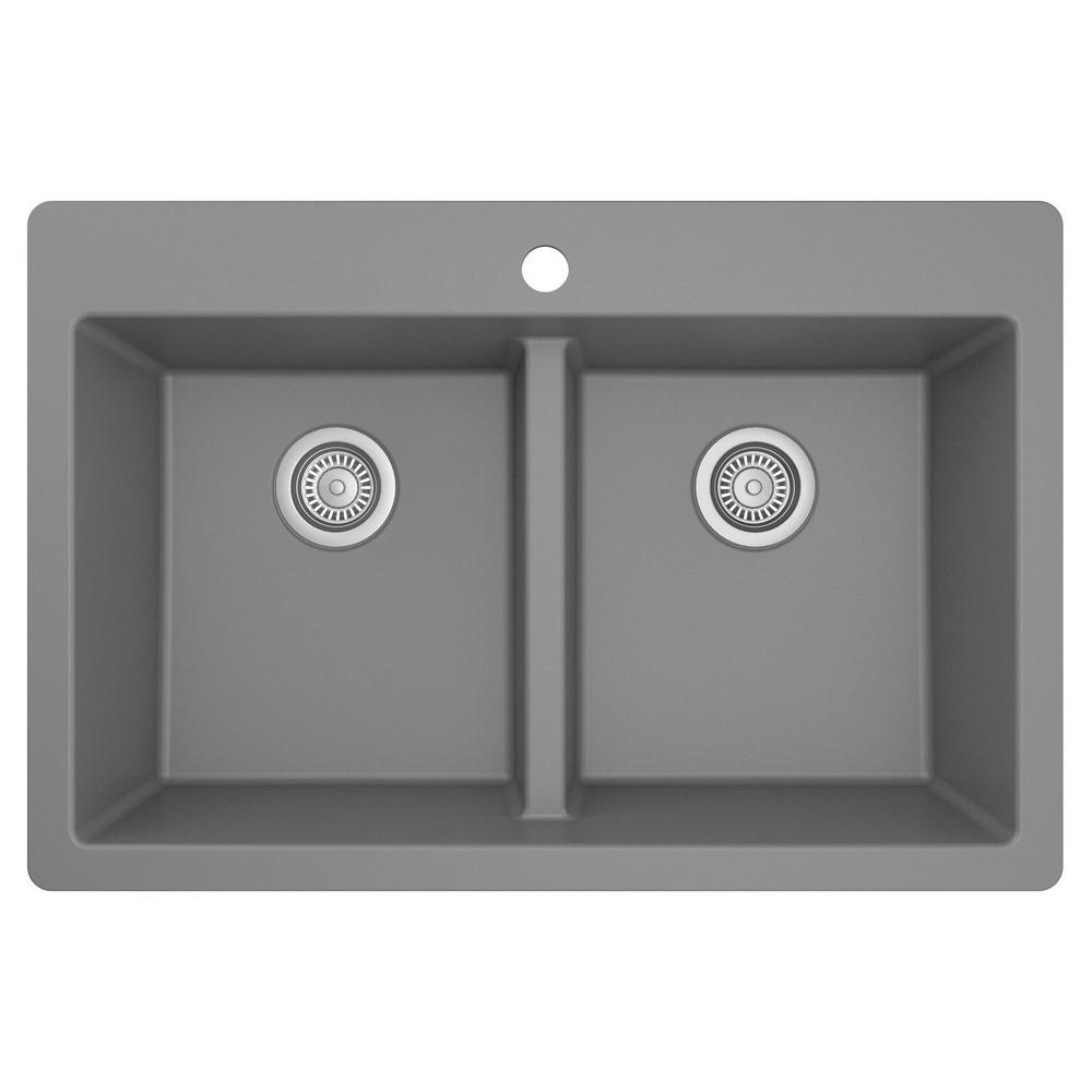 Grey Quartz 33 in. 50/50  Double Bowl Composite Drop-in Kitchen Sink
