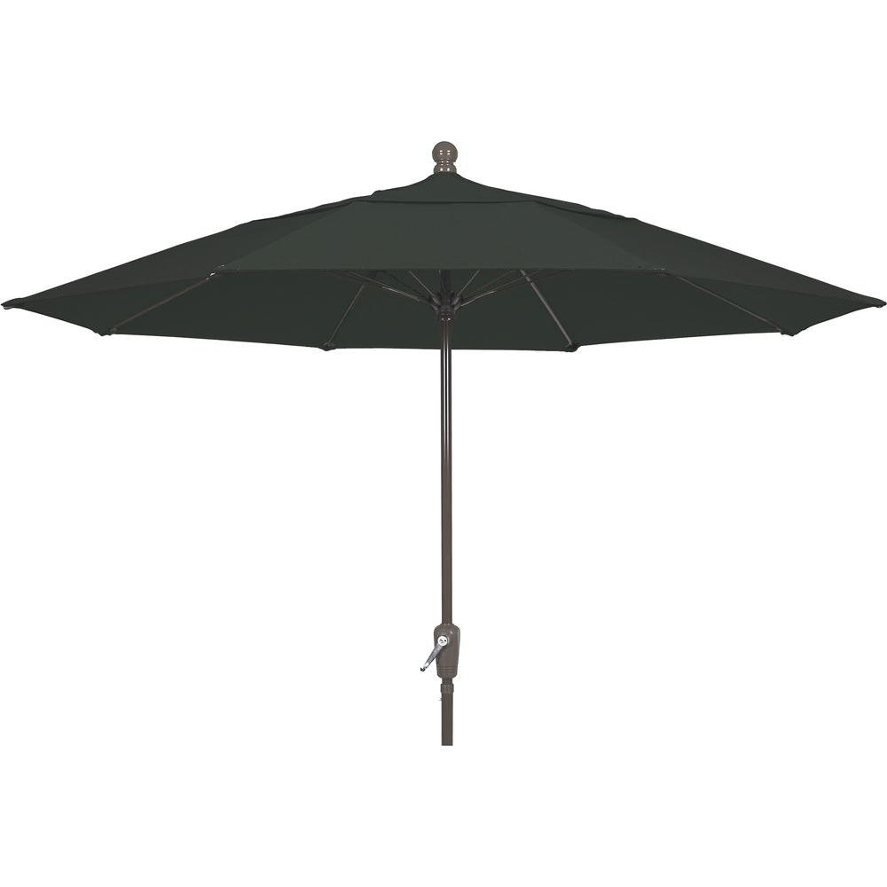 11 ft. Aluminum Patio Umbrella in Black Acrylic