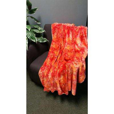 Red Polyester Patterned Throw