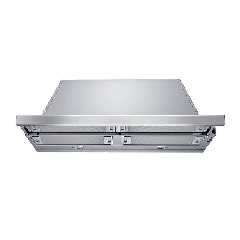 Bosch 500 Series 36 in. Pull-Out Range Hood with Lights in Stainless Steel (Silver) Sleek, pull-out visor hoods allow you to close them when not in use and install flush with cabinetry for a sophisticated timeless design. Bosch pull-out range hoods boast three-speed slider control and integrated blowers with 500 CFM air purifying performance. Enjoy peaceful cooking with no distracting noise. Color: Stainless Steel.