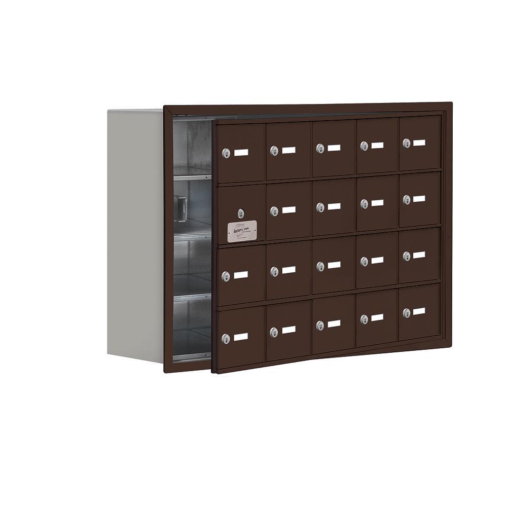 19100 Series 35.75 in. W x 24.25 in. H x 8.75 in. D 19 Doors Cell Phone Locker Recess Mount Keyed Lock in Bronze