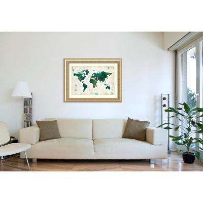 """49 in. W x 37 in. H """"Discover the World (Map)"""" by Melissa Averinos Framed Art Print"""