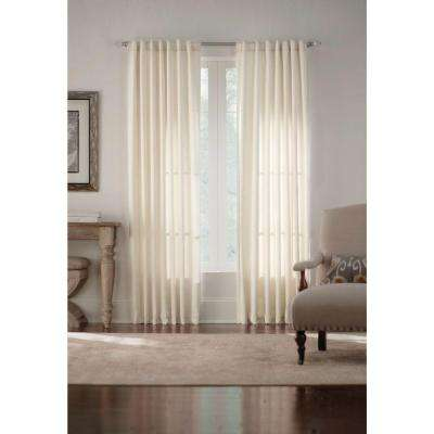 Semi-Opaque Ivory Monaco Thermal Foam Backed Lined Back Tab Curtain - 52 in. W x 84 in. L