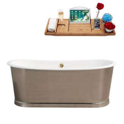 66.9 in. Cast Iron Flatbottom Non-Whirlpool Bathtub in Brushed Chrome