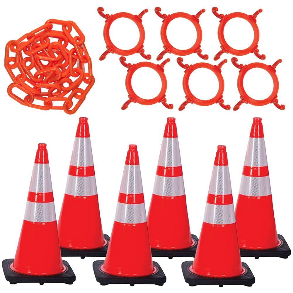 Mr. Chain 28 in. Traffic Orange Reflective Cone and Chain Kit