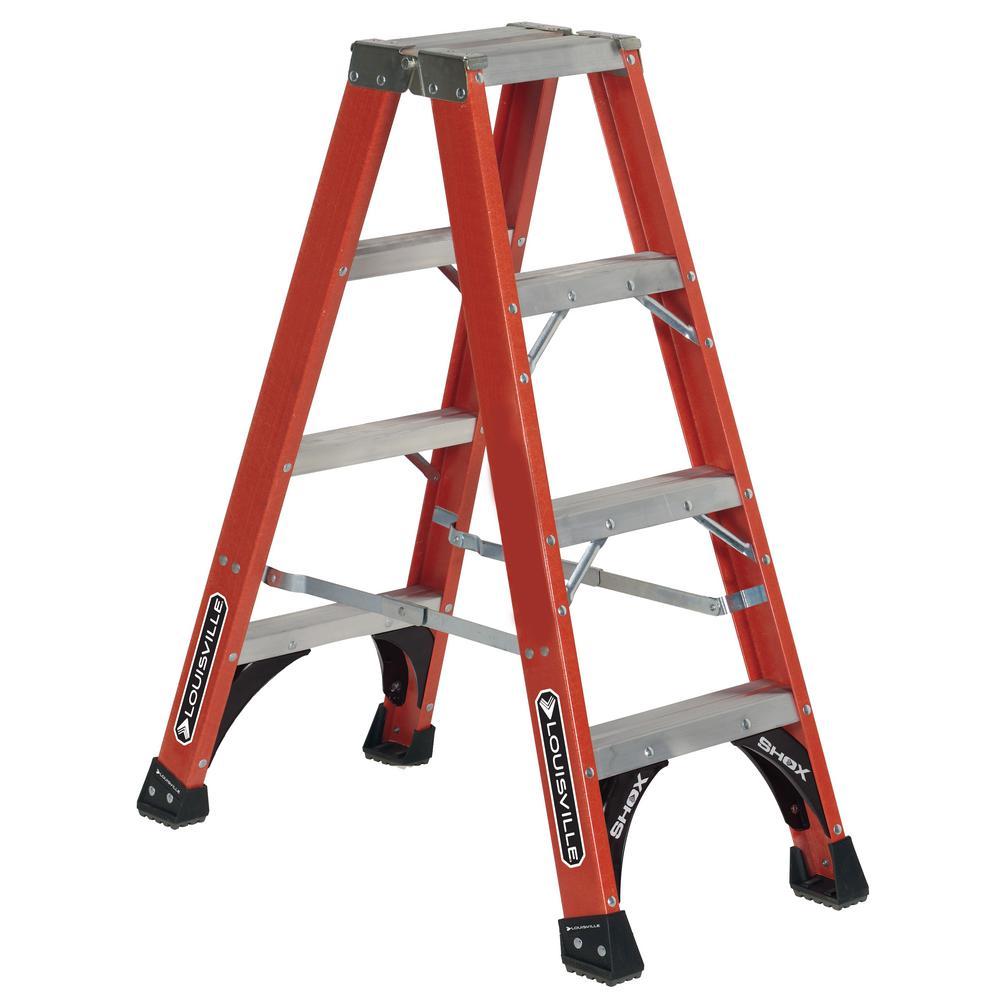 Louisville Ladder 4 ft. Fiberglass Twin Step Ladder (7 ft. Reach), 375 lbs. Load Capacity Type IAA Duty Rating