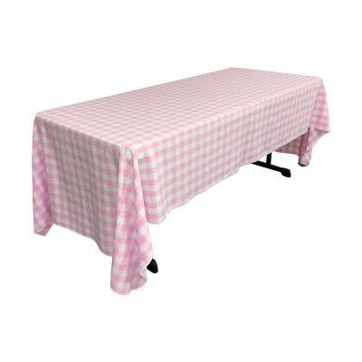 """""""60 in. x 144 in. White and Pink Polyester Gingham Checkered Rectangular Tablecloth"""""""