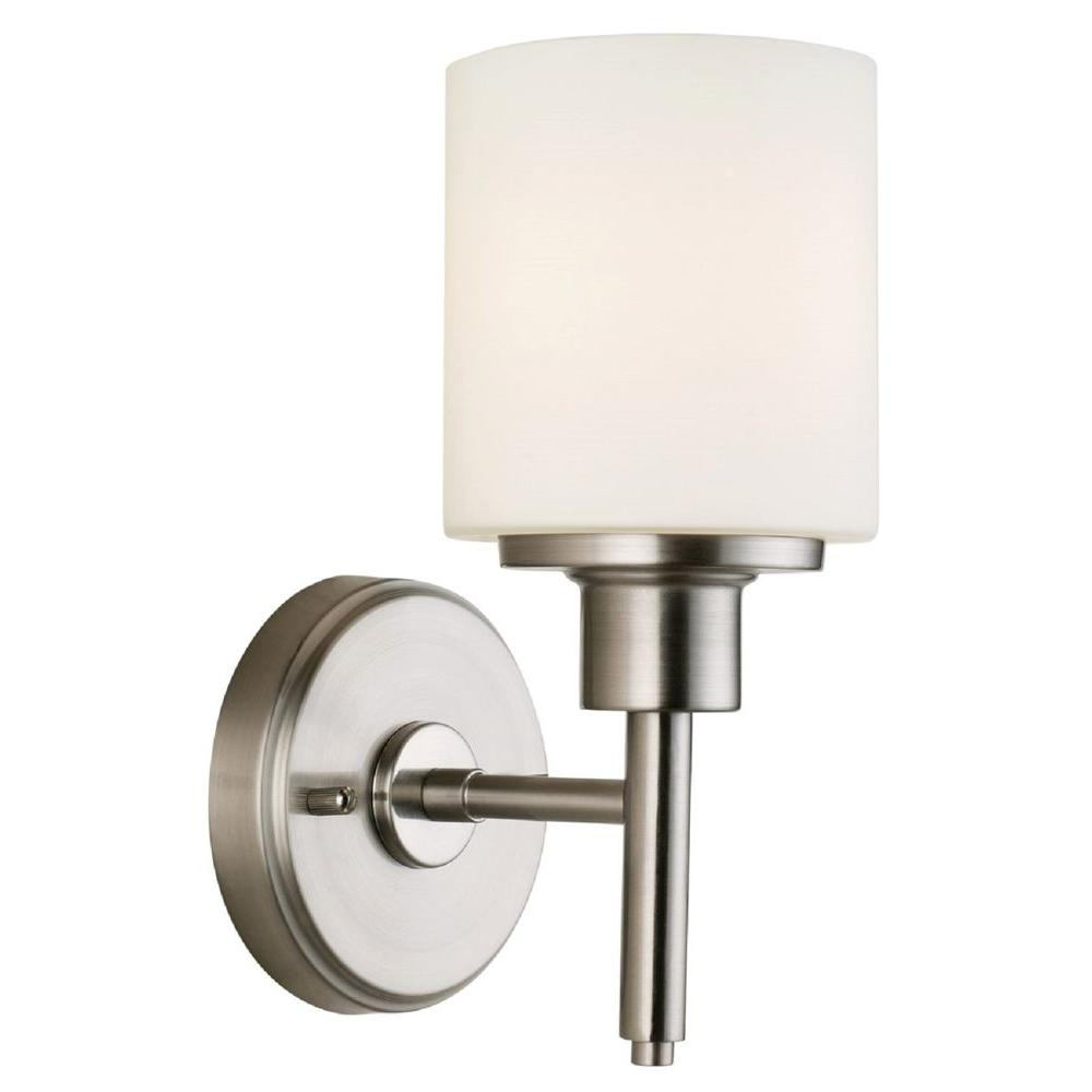 Design house aubrey 1 light satin nickel indoor wall mount for House lighting fixtures