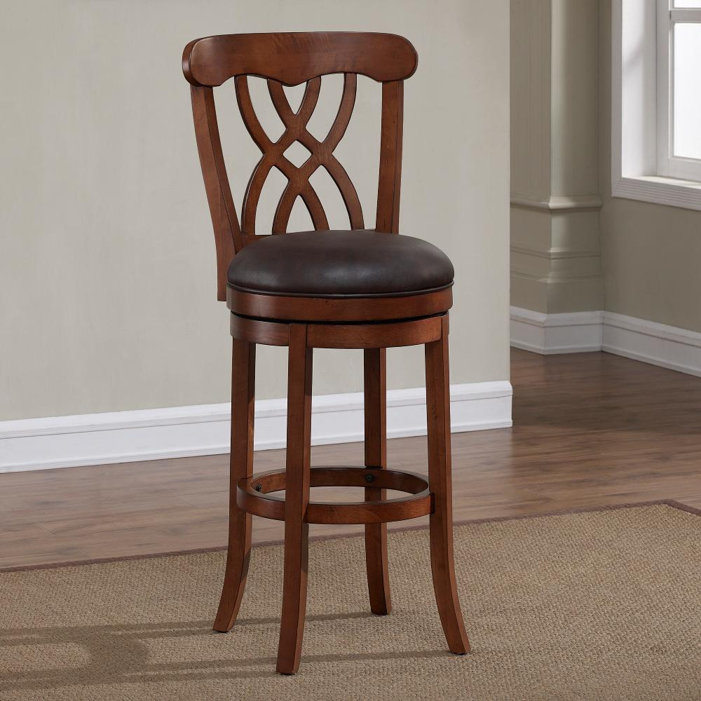 American Woodcrafters Lydia 26 In Light Oak Cushioned Swivel Counter Stool