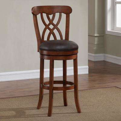 Lydia 34 in. Light Oak Cushioned Swivel Tall Bar Stool