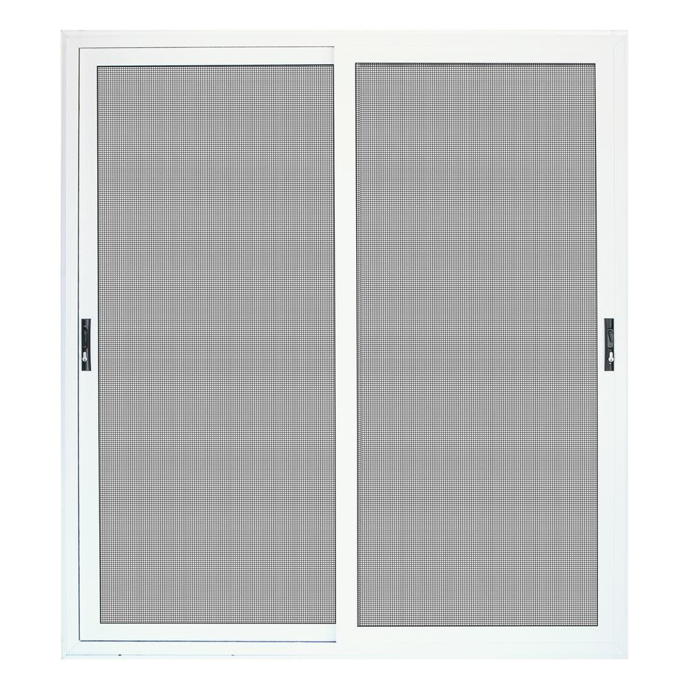 Unique Home Designs 72 In X 80 In White Sliding Ultimate Security Patio Screen Door With Meshtec Screen