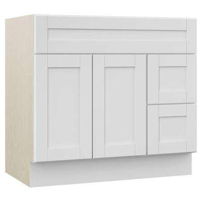Stirling 36 in. W x 21.5 in. D x 33.5 in. H Bath Vanity Cabinet Only with Drawers on Right in White