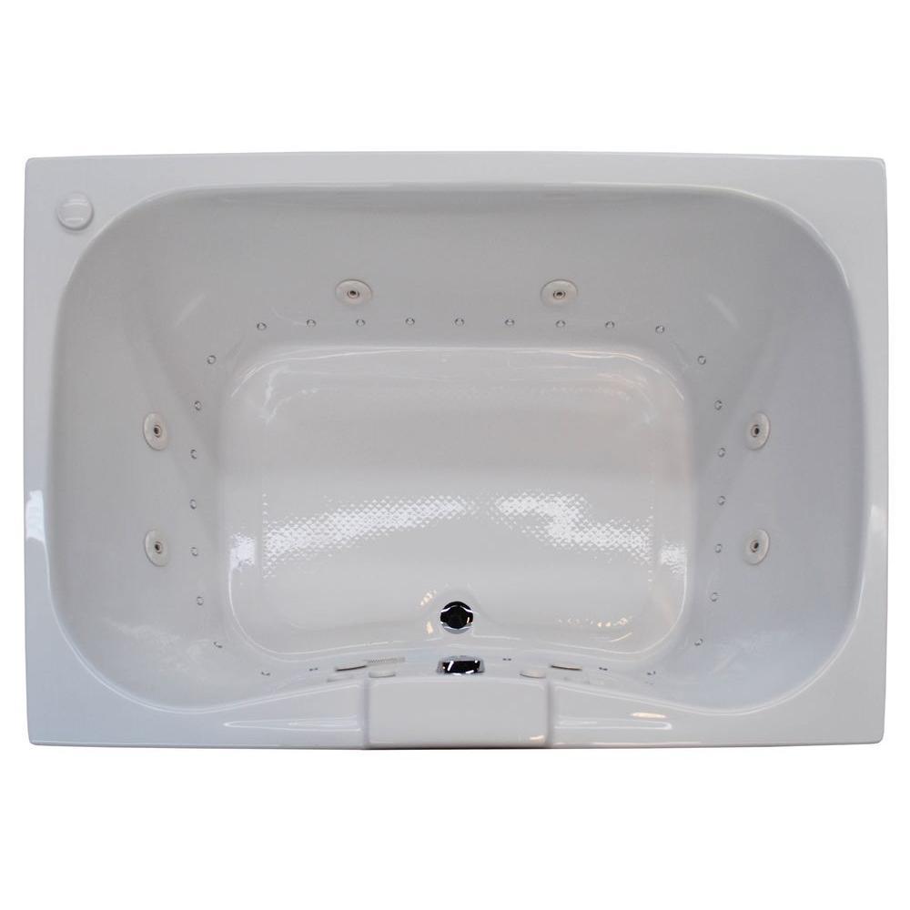 Rhode Diamond Series 5 ft. Left Pump Rectangular Drop-in Whirlpool and Air Bath Tub in White