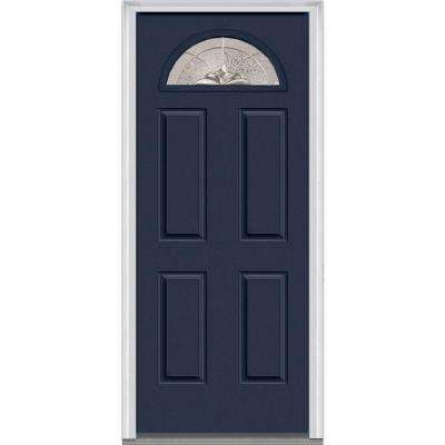 36 in. x 80 in. Heirloom Master Right-Hand Inswing 1/4-Lite Decorative 4-Panel Classic Painted Steel Prehung Front Door