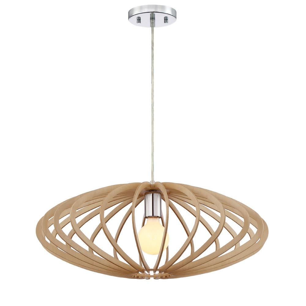 Designers Fountain Sanaa 1 Light Kula Wood Hanging Pendant
