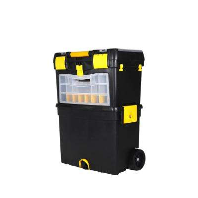 9-1/2 in. and 12-3/4 in. D (2-Tiered) Storage Toolbox with Foldable Auto-Locking Handle in Black