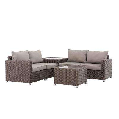 California 4-Piece Patio Seating Set with White Cushions - Clearance - Outdoor Lounge Furniture - Patio Furniture - The Home Depot