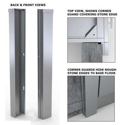 Stainless Steel 3 in. x 34.5 in. x 1.5 in. Outdoor Kitchen Cabinet End Corner Guard Panel for Right Side of Base Cabinet