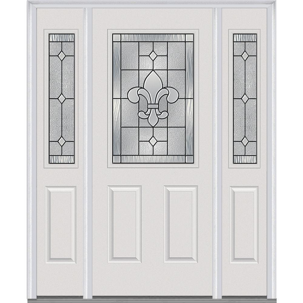 Mmi door 64 5 in x in carrollton decorative glass for Glass exterior doors for home