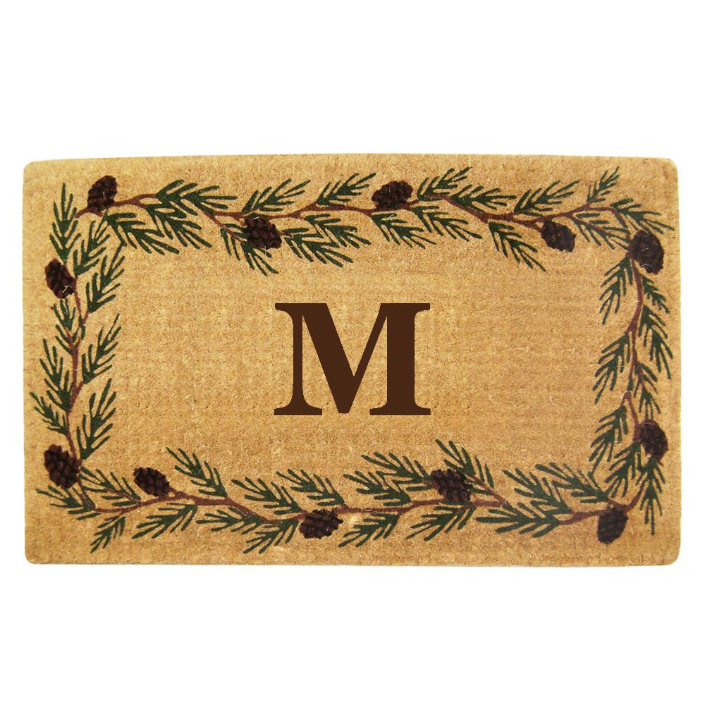 Evergreen 22 in. x 36 in. Heavy Duty Coir Monogrammed M