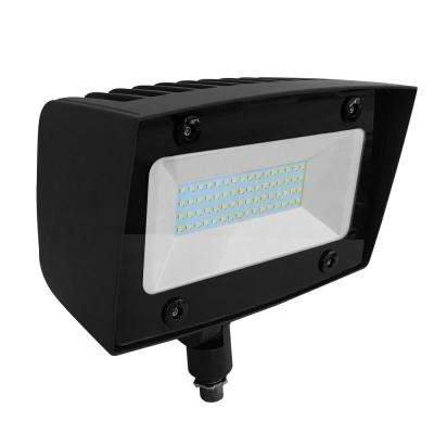Asimo 40-Watt Bronze Outdoor Integrated LED Flood Light with Integrated Photocell Dimming Driver Knuckle Mount