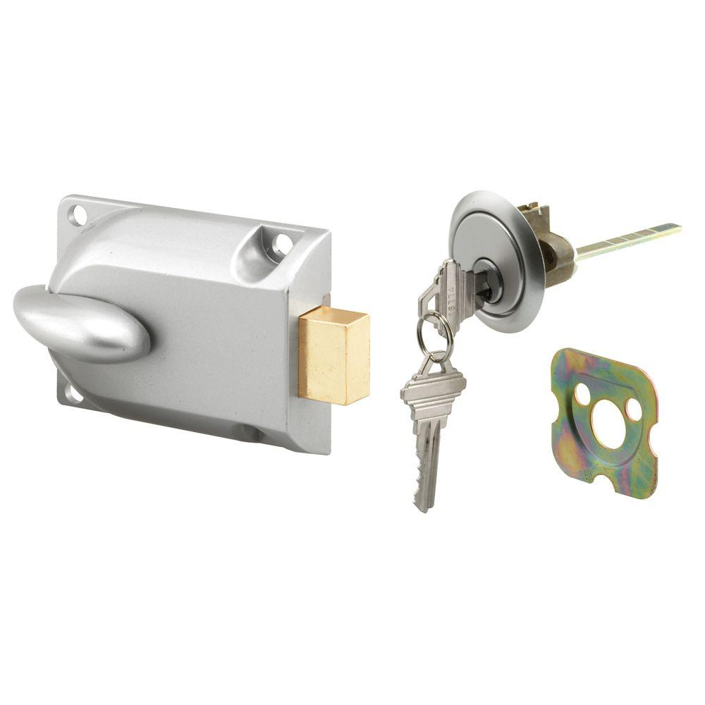 Prime-Line Aluminum Painted Center Mount Deadbolt Lock with Key Cylinder