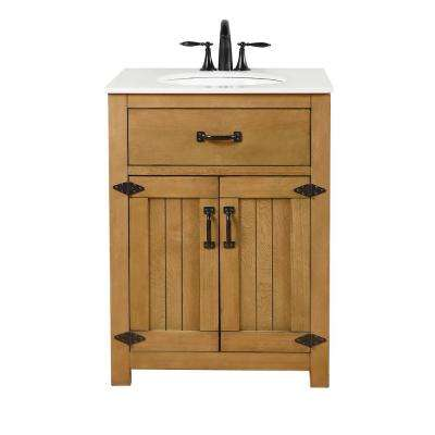 Vanity in A Rustic Wood Finish Features Solid Wood with Engineered Top