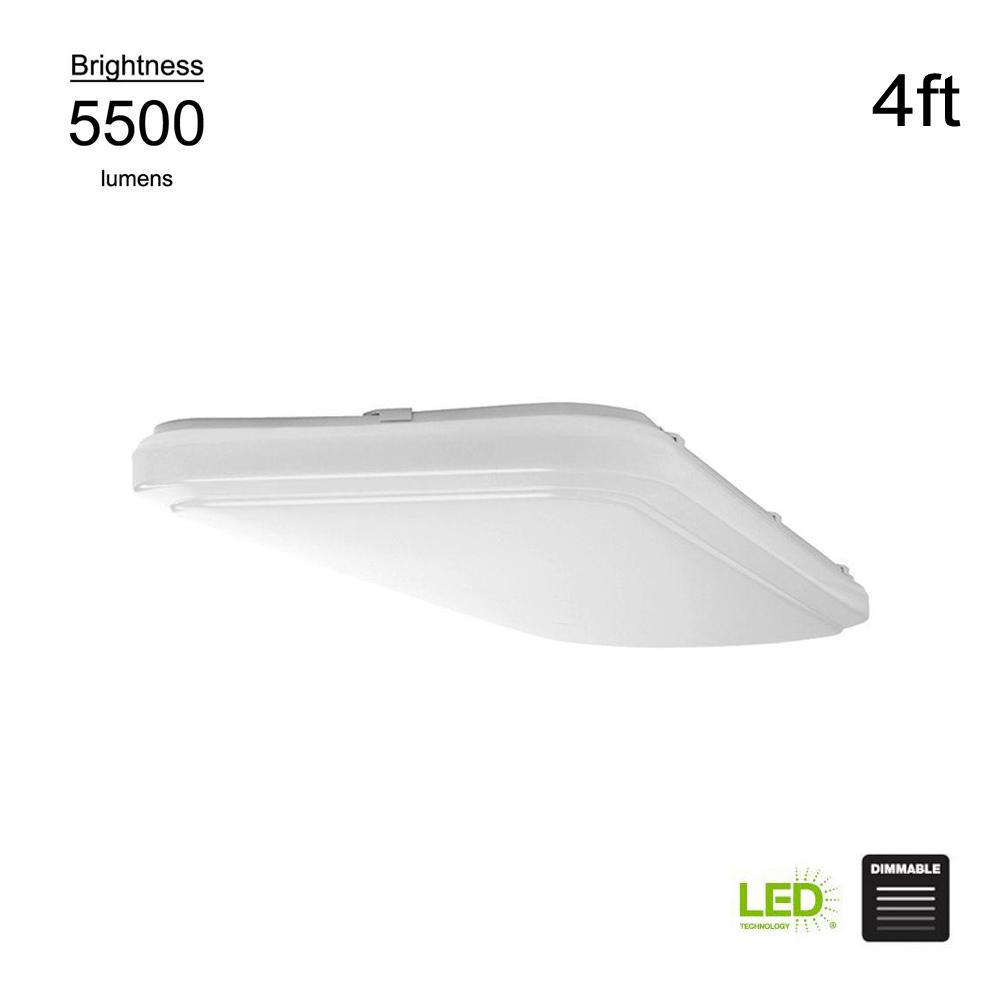 Hampton Bay 4 ft. x 1.5 ft. White Rectangular Integrated LED Flush Mount Puff Light 4000K Bright White 5500 Lumens Dimmable
