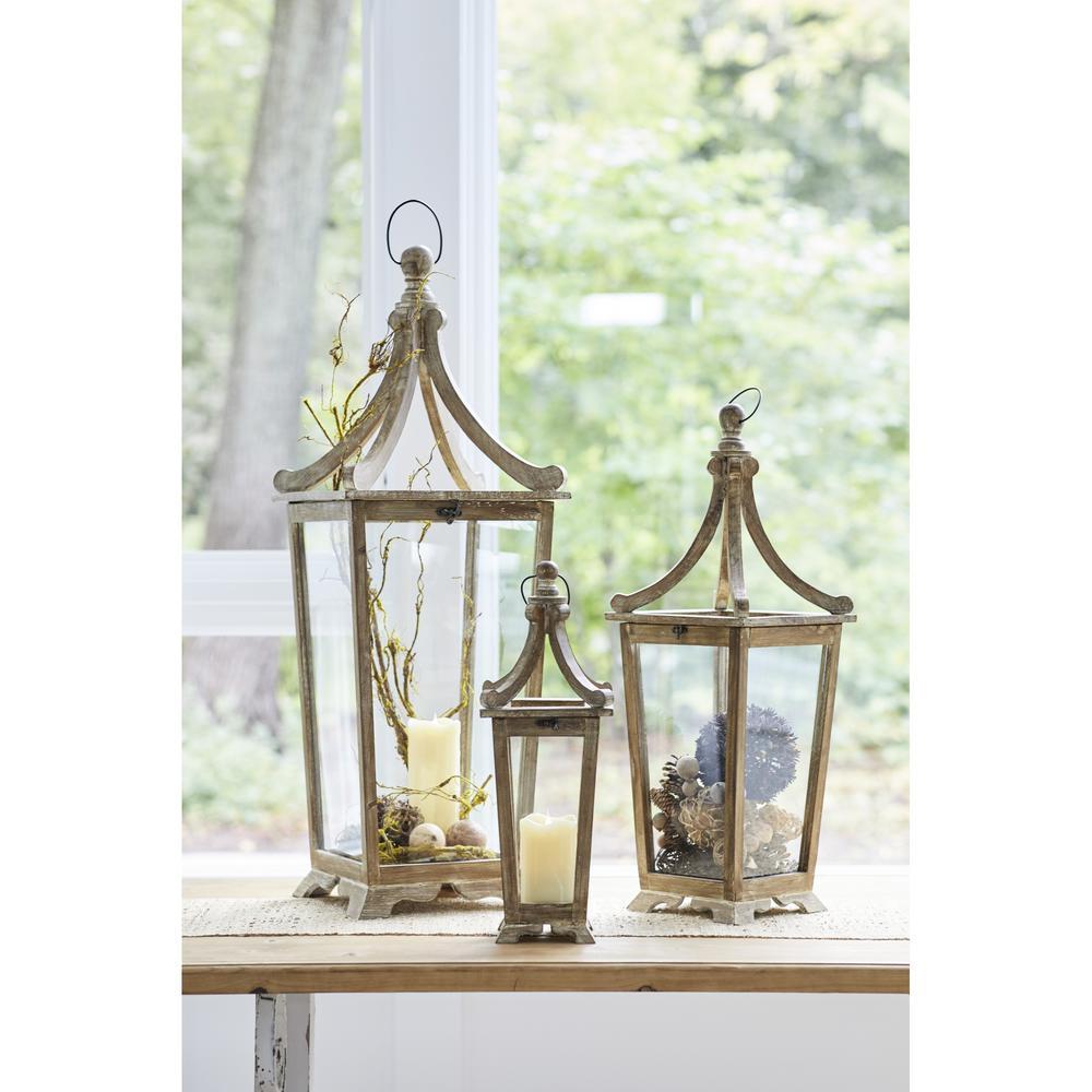 Wood/Glass Lantern (Set of 3)