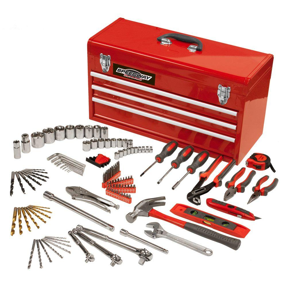 speedway 24 in 3 drawer steel tool chest with bonus tool set 118