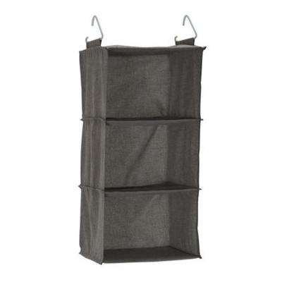 3-Compartment Grey Polyester Hanging Closet Organizer