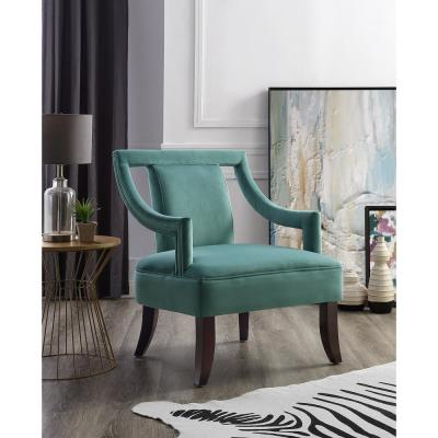 Felicity Slate Blue Velvet Swoop Arm Slipper Chair with Open Sides