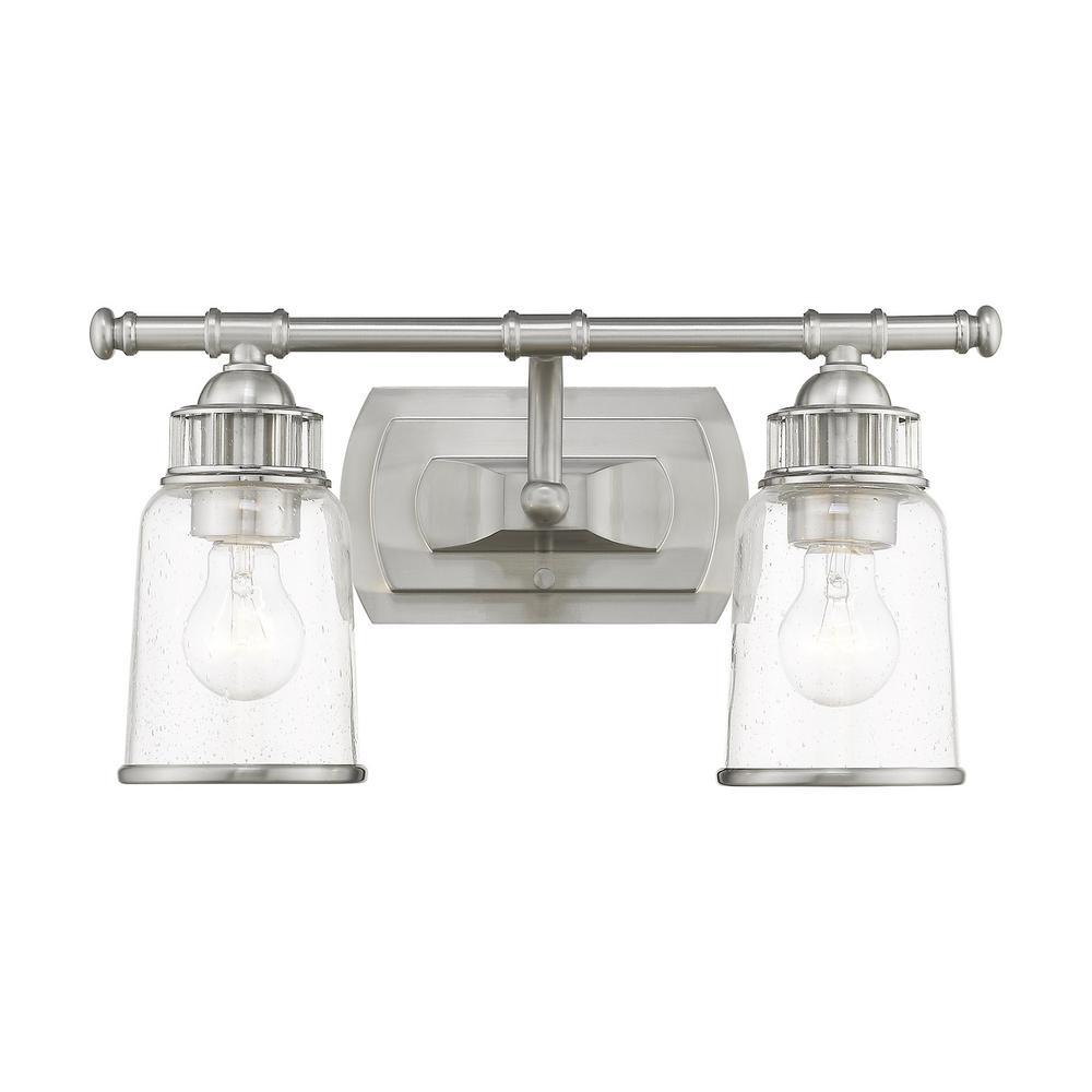 Livex Lighting Lawrenceville 2 Light Brushed Nickel Bath Vanity 10512 91 The Home Depot