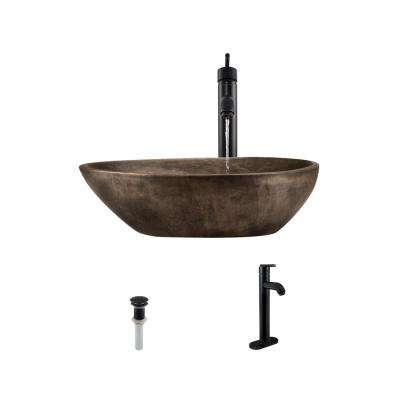 Vessel Sink in Bronze with 718 Faucet and Pop-Up Drain in Antique Bronze
