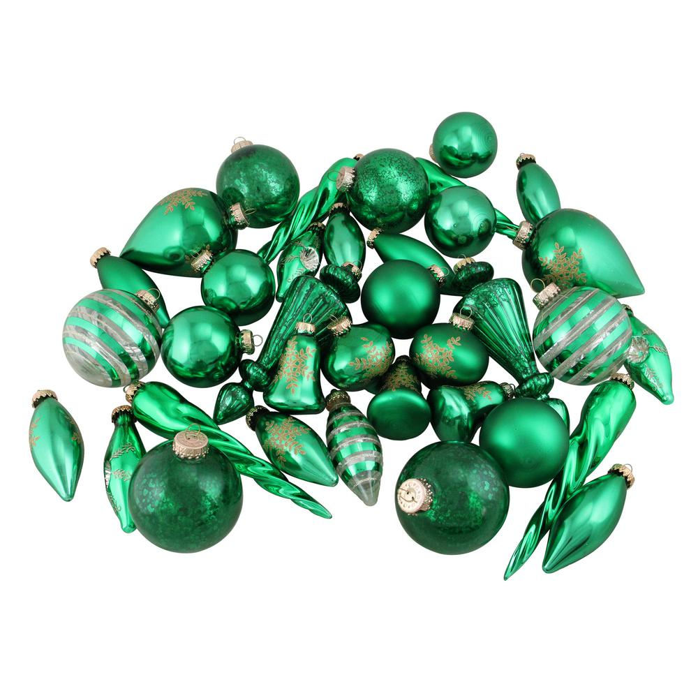 Northlight Set of Green and Gold Asymmetrical Christmas Ornaments (36-Piece)