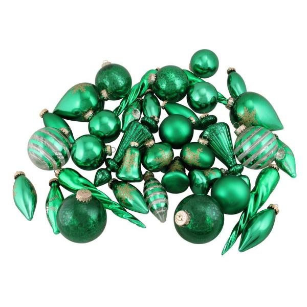 Set of Green and Gold Asymmetrical Christmas Ornaments (36-Piece)