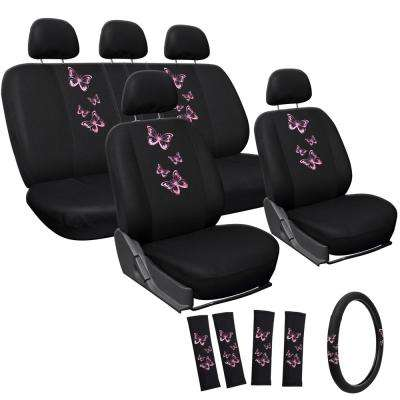 Polyester Seat Covers Set 24 in. L x 21 in. W x 40 in. H 17-Piece Embroidered Butterfly Seat Cover Set Pink
