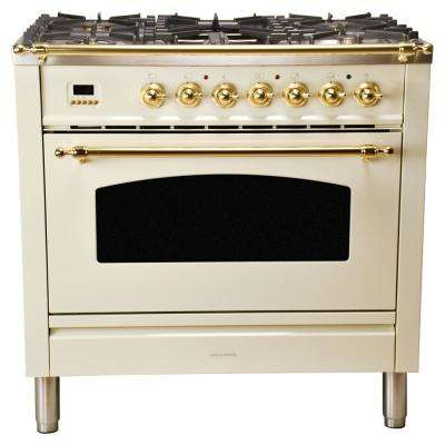 36 in. 3.55 cu. ft. Single Oven Dual Fuel Range with True Convection, 5 Burners, and Griddle in Antique White
