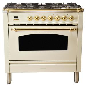 Hallman 36 inch 3.55 cu. ft. Single Oven Dual Fuel Range with True Convection, 5 Burners, and Griddle in Antique White by Hallman
