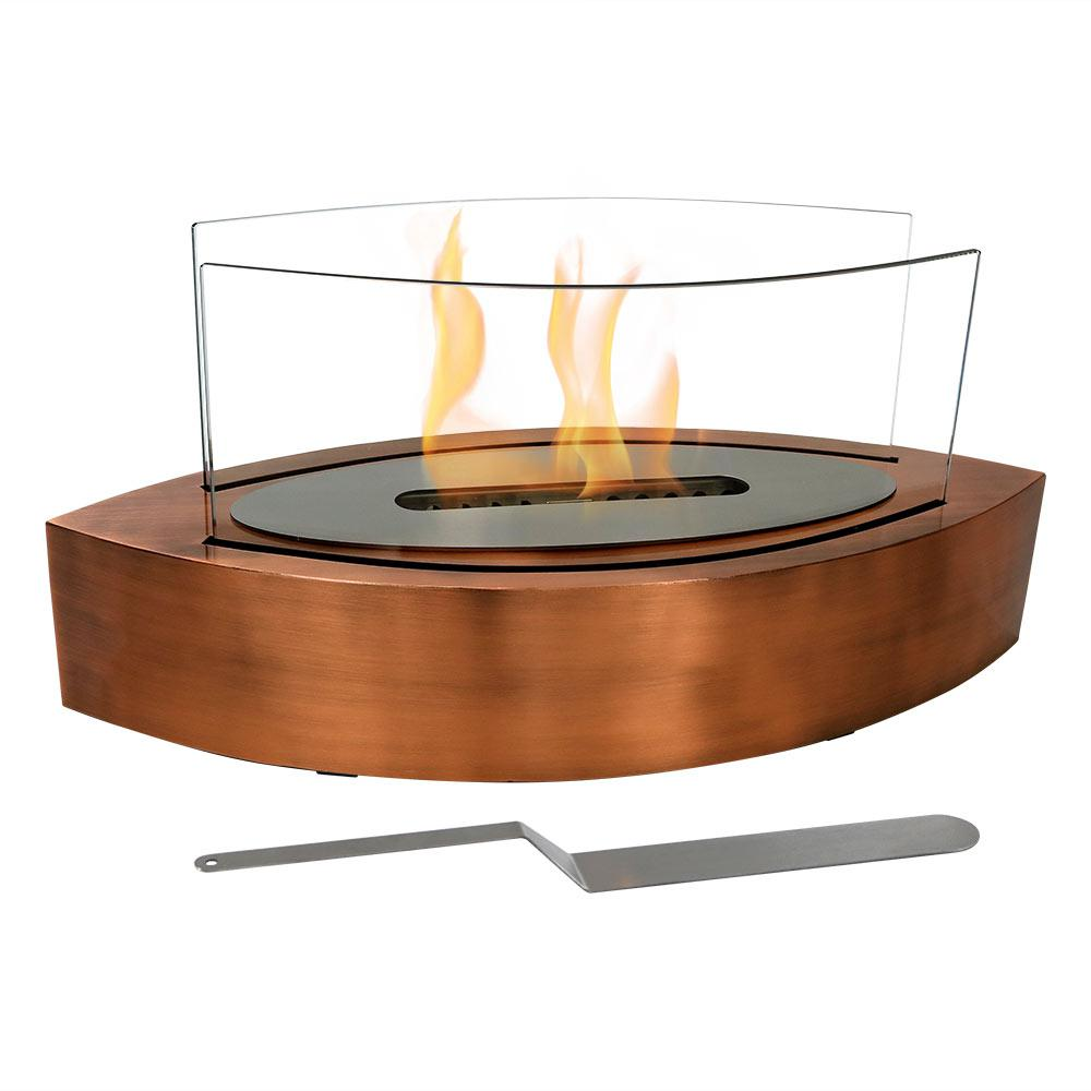 Barco 10.75 in. Tabletop Bio-Ethanol Fireplace in Copper