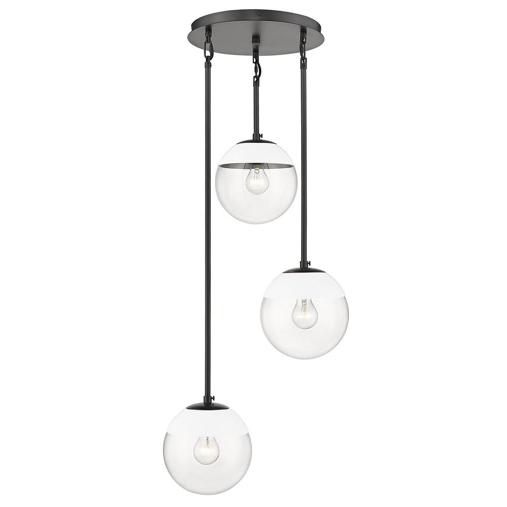 Golden Lighting Dixon 3-Light Pendant in Black with Clear Glass and White Cap