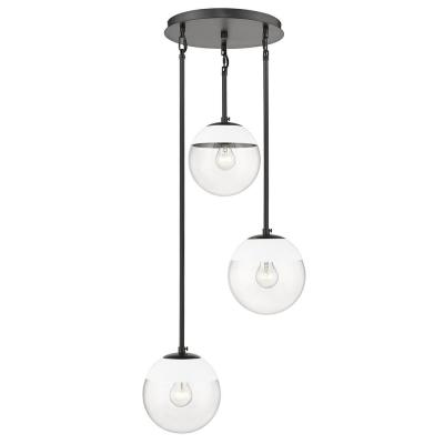 Dixon 3-Light Pendant in Black with Clear Glass and White Cap