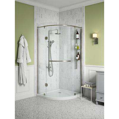 Glamour 38 in. x 73.90 in. Semi-Frameless Pivot Corner Shower Door in Satin Nickel with 38 in. x 38 in. Base in White
