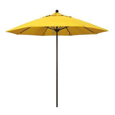 Fibergl Market Pulley Open Bronze Patio Umbrella In Lemon Olefin