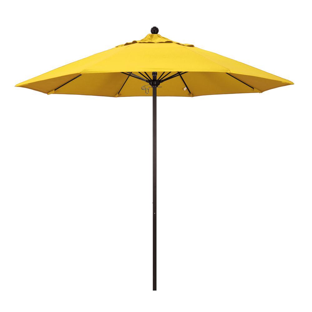 9 ft. Fiberglass Market Pulley Open Bronze Patio Umbrella in Lemon Olefin