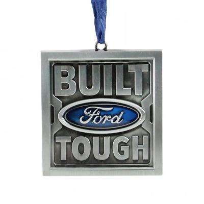 3 in. Officially Licensed Built Ford Tough in. Brushed Nickel Plated Christmas Tree Ornament