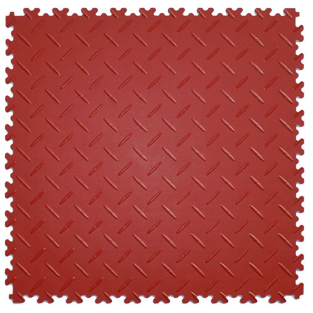 IT-tile Diamond Plate Terracotta 20.5 in. x 20.5 in. Residential & Commercial Interlocking MultiPurpose Flooring, 8 Tile